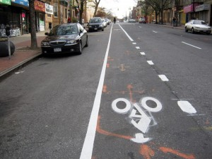 Skillman Avenue Bike Lane, with bike images